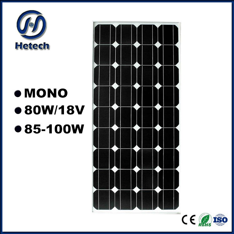 High quality 80w 85w 90w 95w 100w 12v mono monocrystalline 80 watt solar panel
