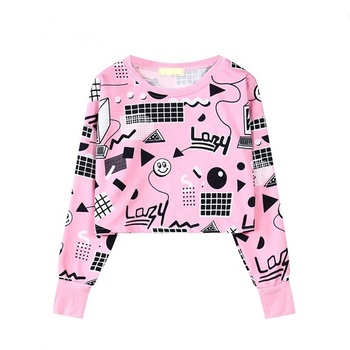 Hot Sale Crop Sublimation Pink Sweatshirt Hoodies For Women