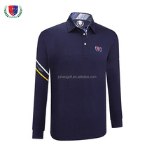 Last designs breathable long sleeves men golf polo t shirt