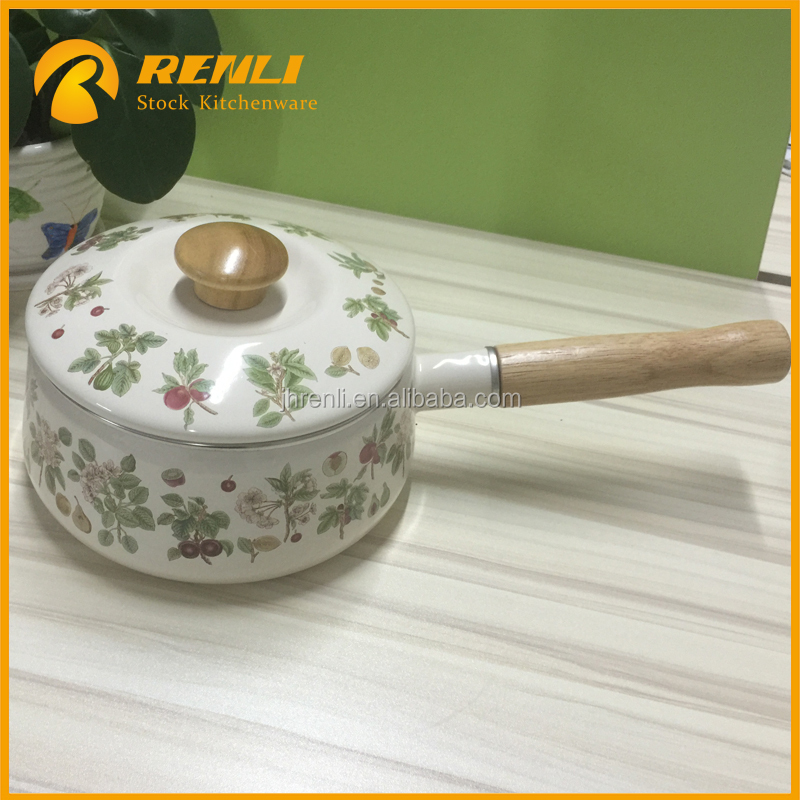 overstock lots,kitchenware non-stick porcelain wooden handle creamy white enamel sauce pan with flowers/cookware pot