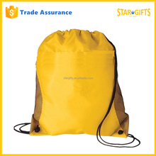 Custom Yellow Fashion Nylon Drawstring Shopping Bag With Mesh Pockets