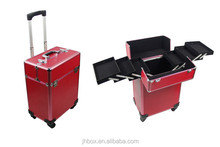 Professional Aluminum Makeup Trolley Case cosmetic box JH518