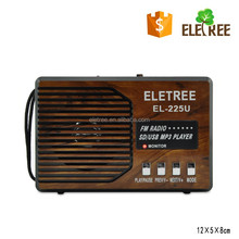 Eletree outdoor radio XB-225U fm radio music player with led troch and ac in two charging methods