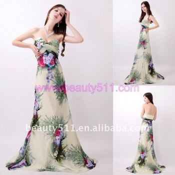 Astergarden Real photo Sweetheart Strapless Printed Party Dress AS155