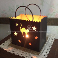 halloween lantern hollow out metal lantern candle holders mini lantern decorative