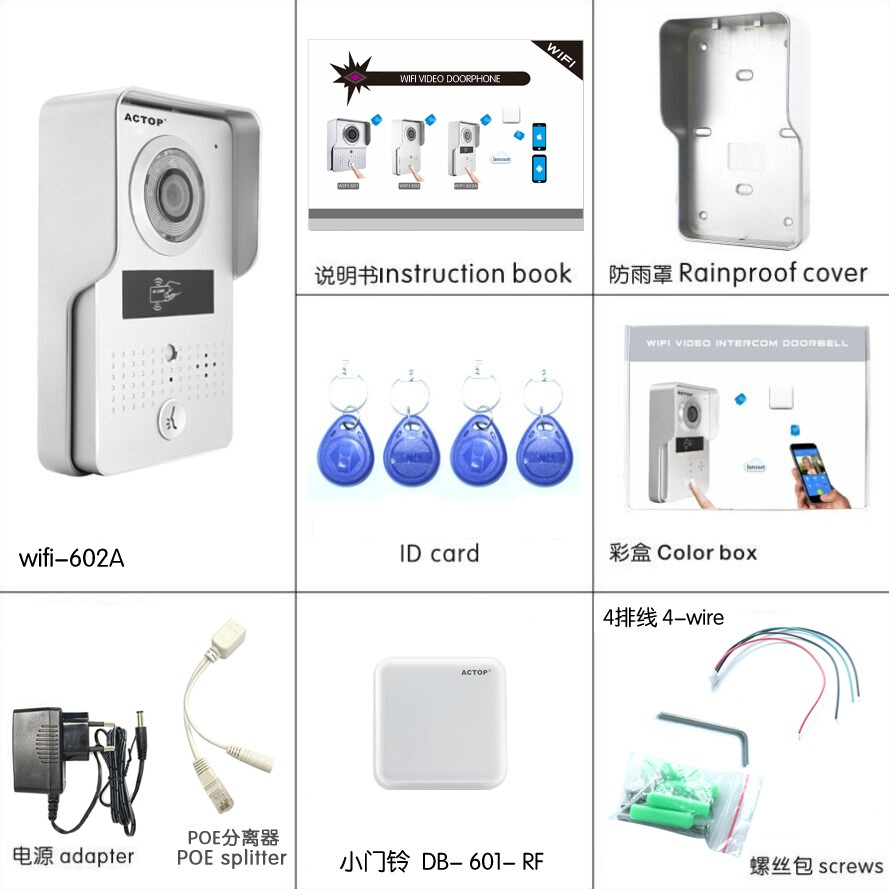 Actop 2015 lastest wireless wifi skype video door phone Home security intercom