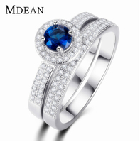 MDEAN Jewelry Ring Set white gold plated Round Sapphire Rings Stackable Wedding Bague for Women Accessories Bijouterie MSR007