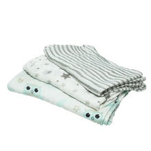 Popfish 3pcs Double Layers Bamboo Muslin Swaddle Blanket