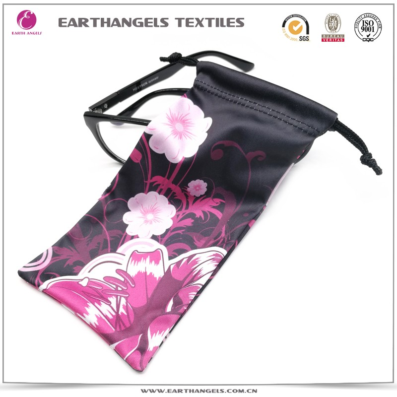 custom digital printed microfiber sunglasses bag/pouch