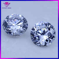 Lab created cz gems 12mm white round cut large size loose cubic zirconia price