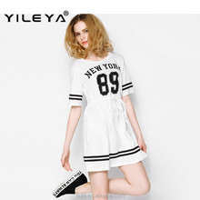 sports designed new york pattern printed long t shirt style latest summer high end designer dresses