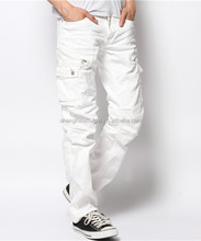 metal zipper white cargo pants for men