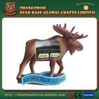 Custom made wholesales decorative polyresin moose shape souvenir magnet for fridge