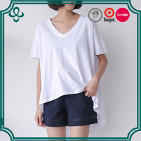 xxxxxxl plain no brand long t-shirt v neck dry fit blank elongated t shirt china wholesale