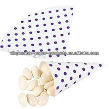 Purple Polka Dot Favor Cones Cone Shaped Paper Party Favor boxes Kids birthday Party Wedding Decoration Bridal Shower Favor