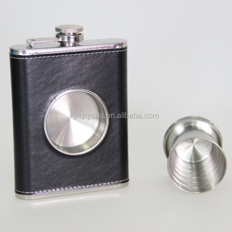 Hot selling The Original Shot Flask 8oz Hip Flask with a Built in Collapsible Shot Glass hip flask with Leather Wrapping