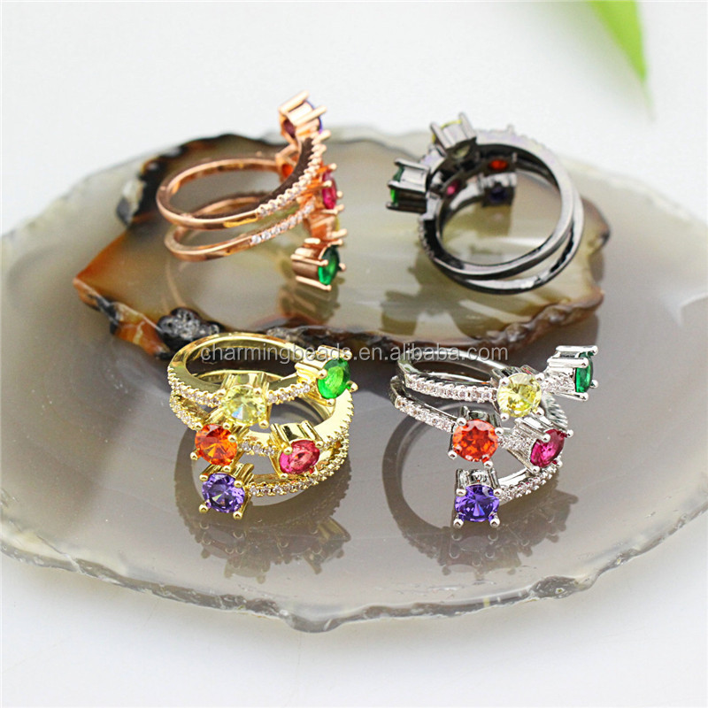 CH-CKR0019 New design rainbow cz micro pave ring,fashion colorful zircon inlay plating ring,good quality cz gift jewelry
