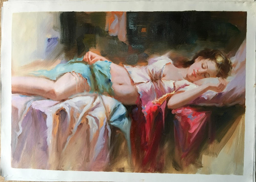 Oil painting lady sexy breast full up bra open photo beautiful young girl sleeping in bed canvas for home hotel decoration