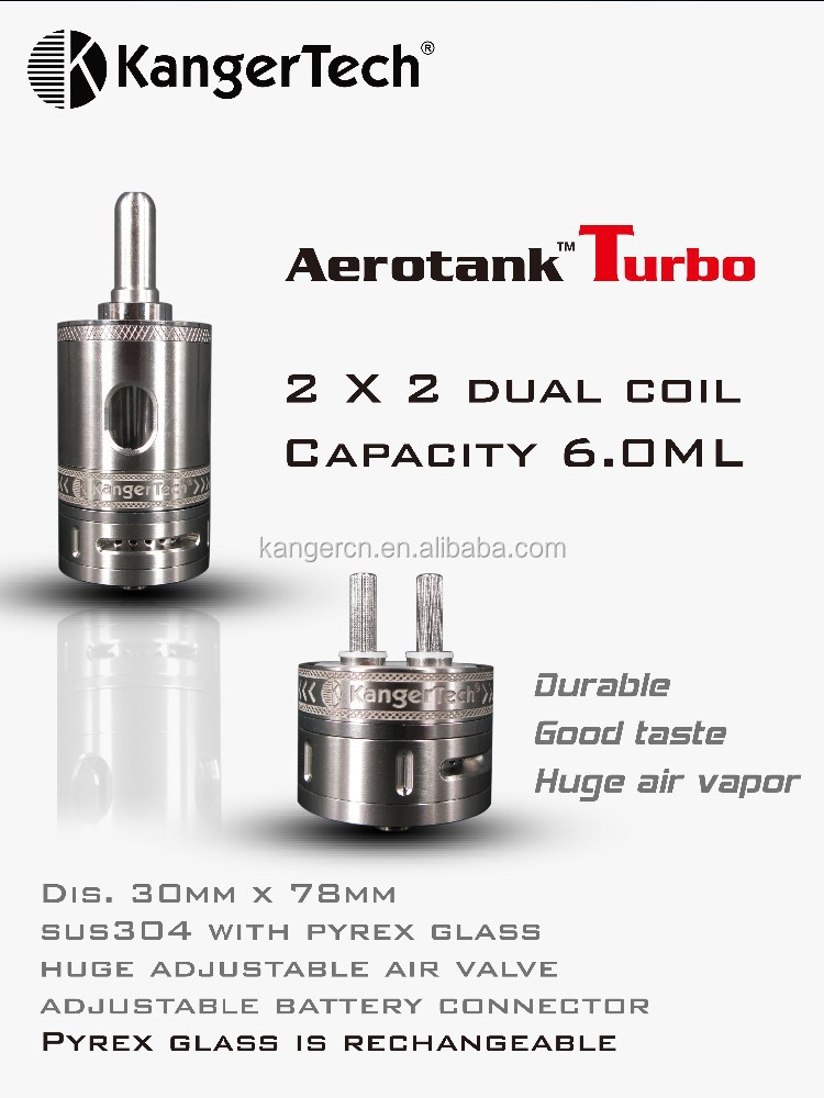 Latest Kanger Aerotank Turbo with 2x 2 dual coil 6ml capacity vaporizer pen