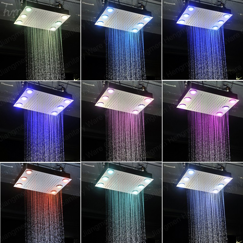 led rain shower head square shower massage jets remote color changing bath accessories stainless steel rainfall head shower