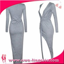 2014 New Arrival Adult Fashion plunging neckline long dress