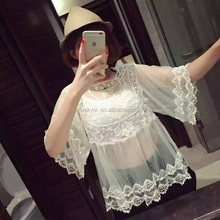 Ladies lace transparents Chiffon Blouses Shirts and Tops
