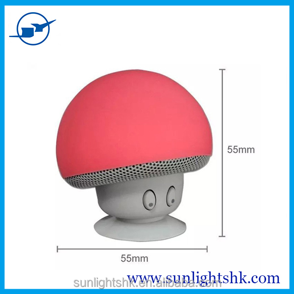 2016 Mini Bluetooth Speaker Mushroom Style with Mic Suction Cup Stereo Subwoofer Bluetooth speaker Mini Portable Speakers