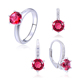 POLIVA Classic Design Rhodium Plating Diamond Ruby Stone Wholesale Fashion Jewelry Set in 925 Sterling Silver