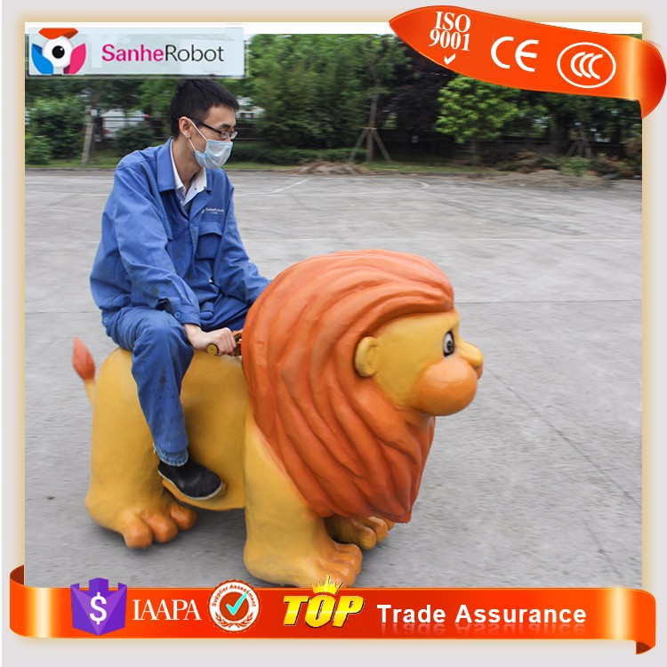 Hot selling Eye light robotic cartoon lion toy car zoo kids ride on animals