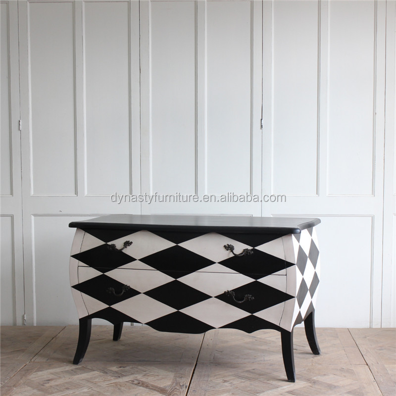 home furniture black and white chest of drawers wood design