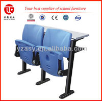 Simple plastic auditorium hall chair with writing table