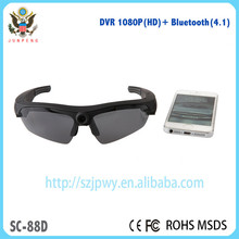 Smart glasses with bluetooth,headset DVR wireless camera sunglasses with build-in mp3 player for music and video