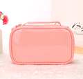 Unique design portable double layer fashion pink blank pu leather cosmetic bag for ladies
