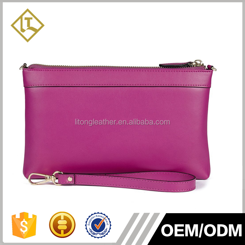 Guangzhou Leather Factory hand craft leather clutch purses for ladies