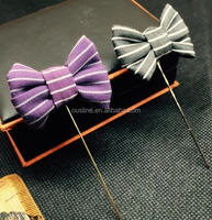 fashion lapel pin with fabric bow, metal lapel pin for dressing decoration