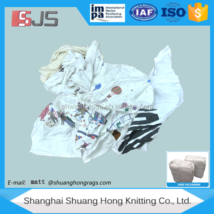 Second hand clothing factory offers white color cotton mixed rags