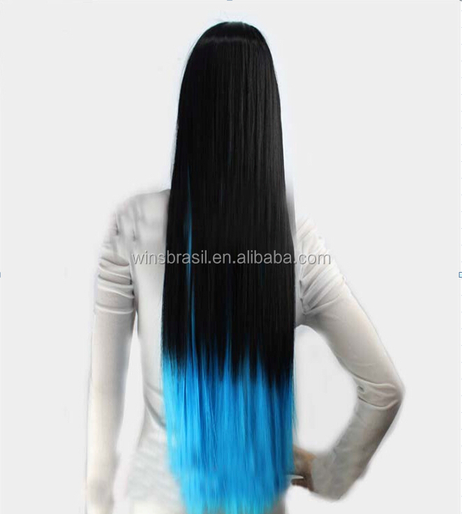 Very long Two tone colored cute naruto synthetic cosplay wig