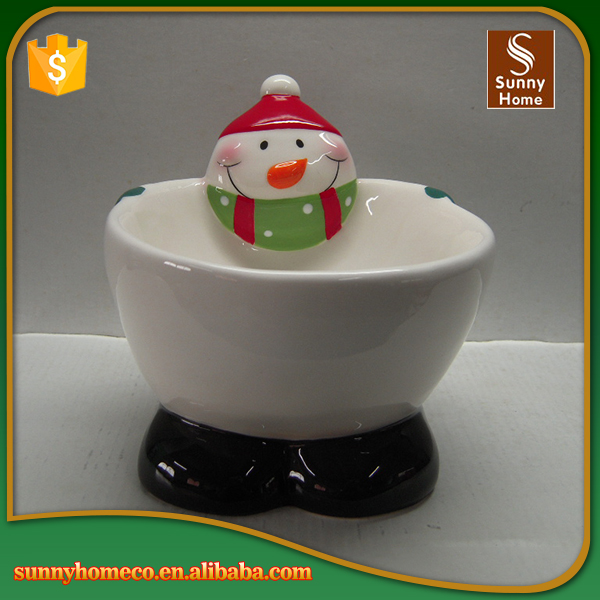 Full painting ceramic Christmas Snowman cereal bowl