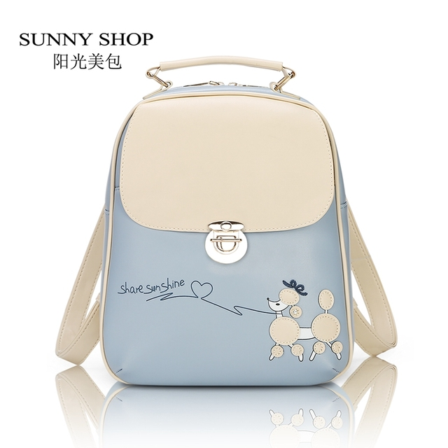 SUNNY SHOP Vintage Fresh Students Backpack Female Korean Backpack School Bicycle Cute Kawaii PU leather Backpack For girls