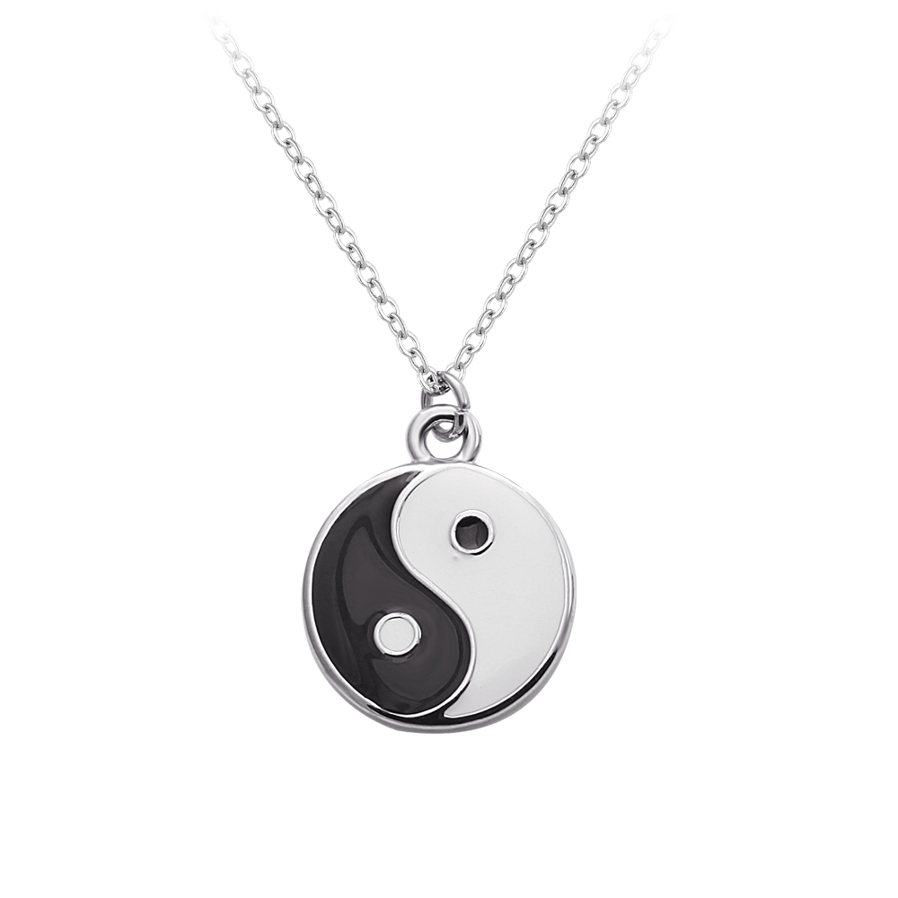 round shape pendant with enamel yin and yang pattern silver pendant necklace in cheap wholesale