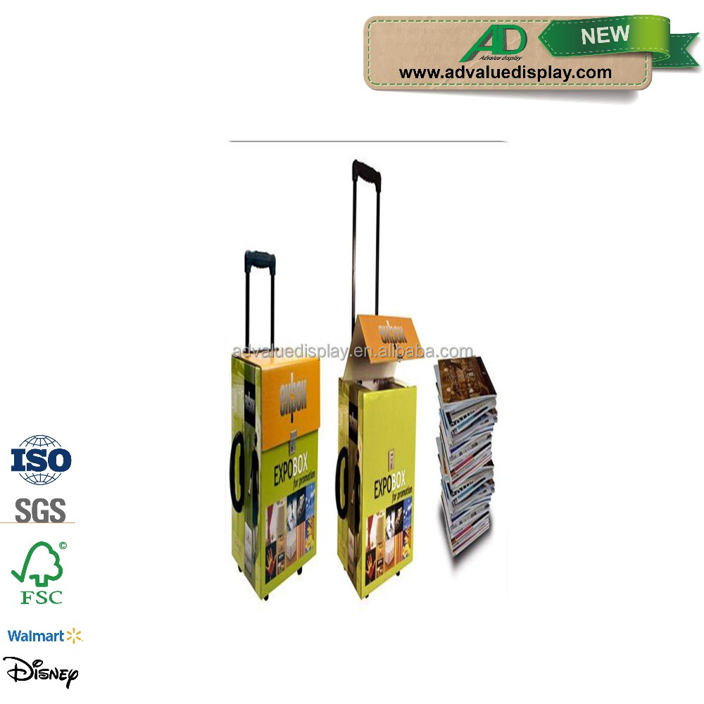 Cheap Strong Folding Cardboard Exhibition Trolley Bag on Wheels