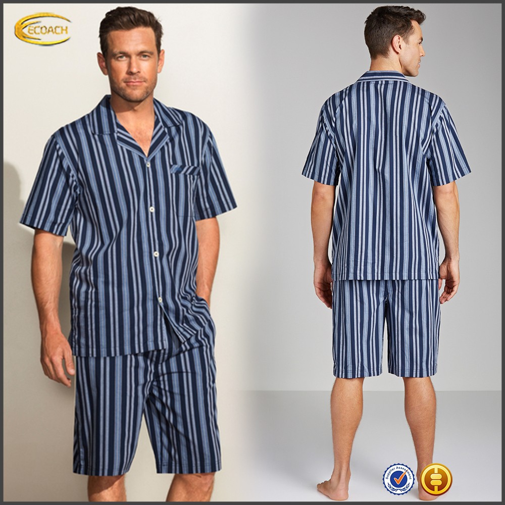 Ecoach Wholesale OEM Men Notched Collar Elasticized Drawtring Waist Navy Stripe Side Seam Pockets Cotton Short Pajama Set