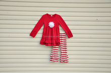 Factory Low Price Wholesale Children Clothing USA Baby Girls Chevron Clothing Sets With Ruffle