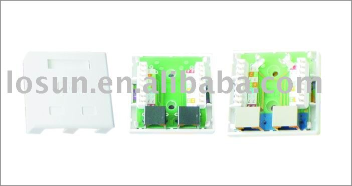 2ports Cat5e shielded surface mount box( connection box,network product)