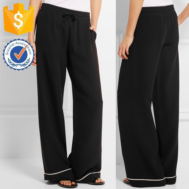 Black Silk Crepe Piping Cuffs Sleepers Relaxed Style Classic Trousers for Ladies Manufacture Wholesale Fashion Apparel (TF0052J)