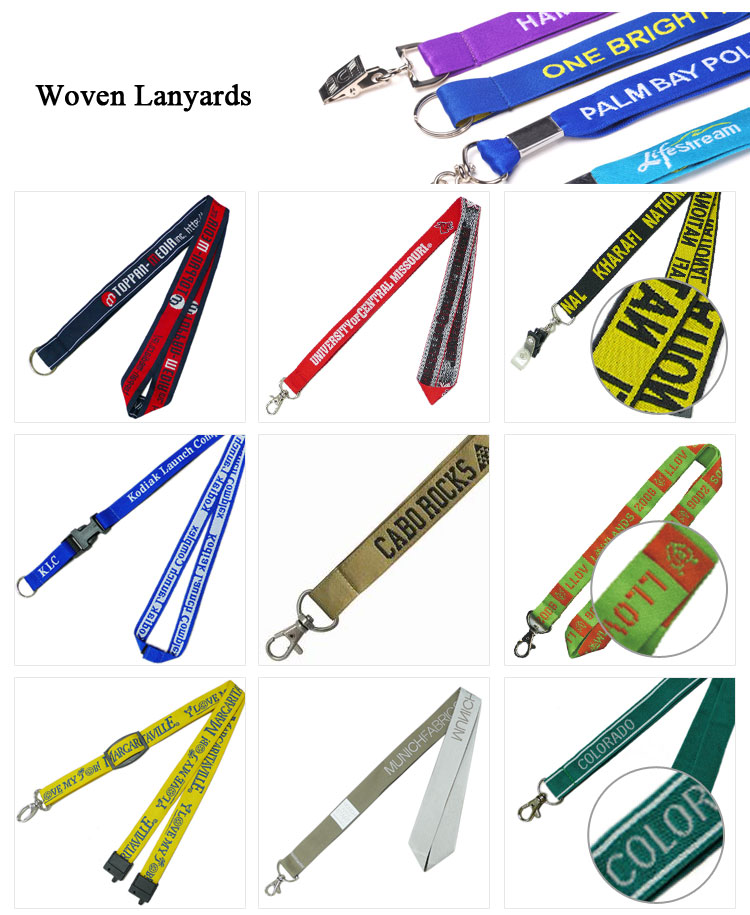 custom adjustable slide buckle woven lanyards