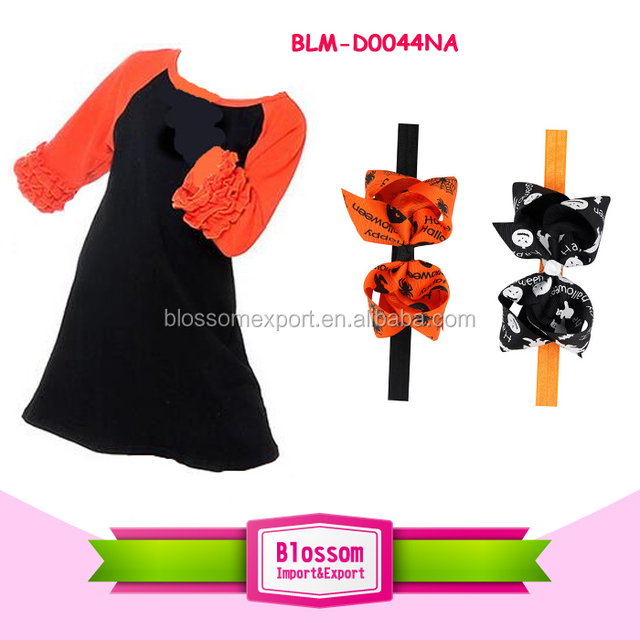 Wholesale new orange black Halloween blank ruffle long dress mom and me boutique cotton icing ruffle fall dress
