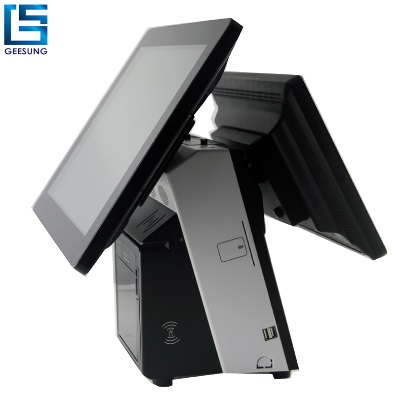Wholesale dual screen pos system hot sale all in one pos machine built in thermal printer msr customer display