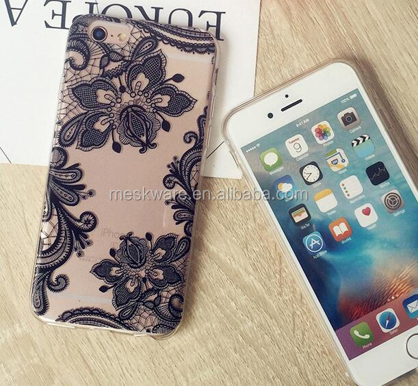 Lace Printed TPU Bumper Clear Back Panel Protective Mobile Phone Case for iPhone 7 6 5
