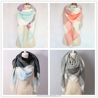 wholesale laides winter knit shawl fashion plaid blanket tartan stoles and scarf